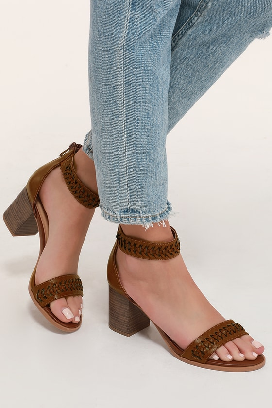cd0feabcbad CL Juni - Brown Ankle Strap Heels - Block Heels