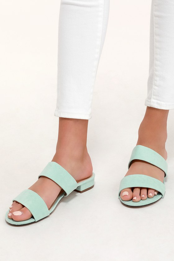 7b8dcee36 Cute Slide Sandals - Mint Suede Slides - Vegan Slides