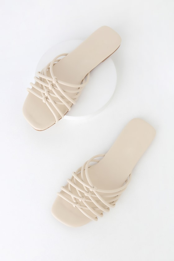 767a824b5a2b4 Cute Cream Slide Sandals - Strappy Sandals - Knotted Sandals