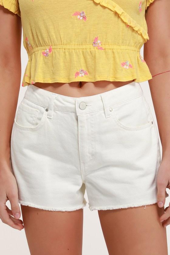 70s Shorts | Denim, High Rise, Athletic Sonya White Denim Cutoff Shorts - Lulus $20.00 AT vintagedancer.com