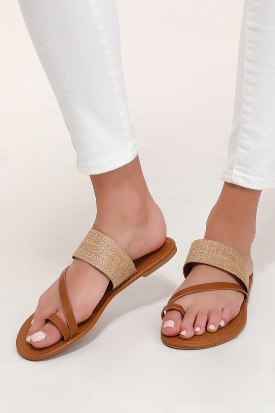 8509f84cf Cute Natural Tan Sandals - Flat Sandals - Woven Sandals
