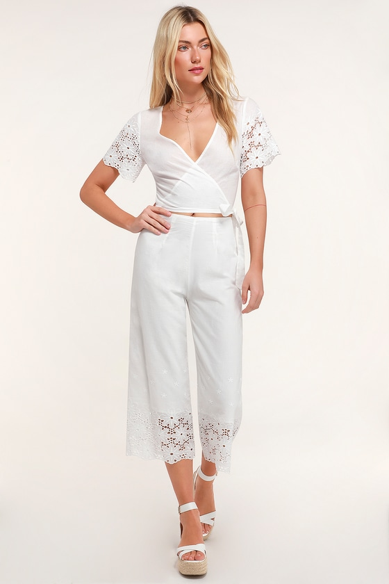 Sunshine Island White Eyelet Lace Culotte Pants by Lulus