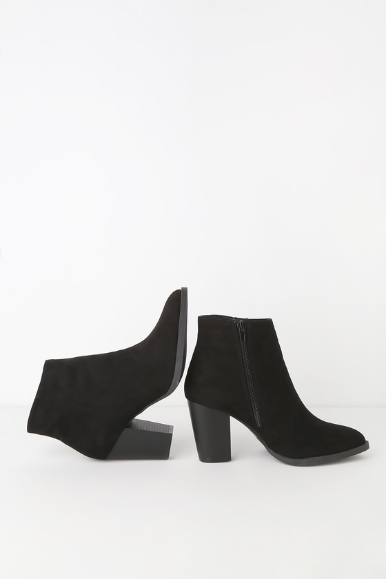 Annelise Black Suede Ankle Booties