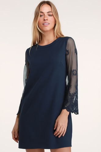 3275231e2f Once Upon a Midnight Navy Embroidered Long Sleeve Shift Dress