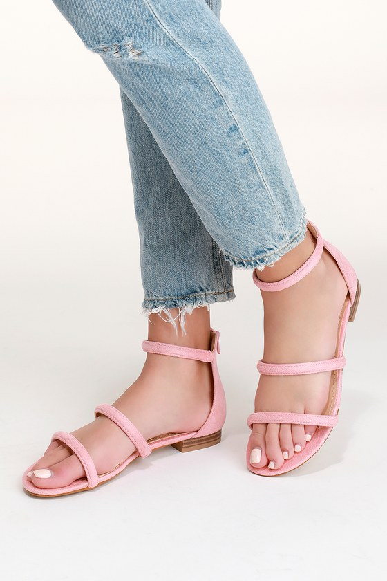 568ac83ac Cute Pink Sandals - Flat Sandals - Vegan Suede Sandals