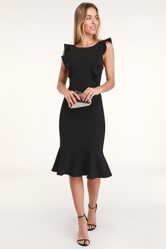 Hearts Aflutter Black Ruffled Bodycon Midi Dress b94ae4e5688f