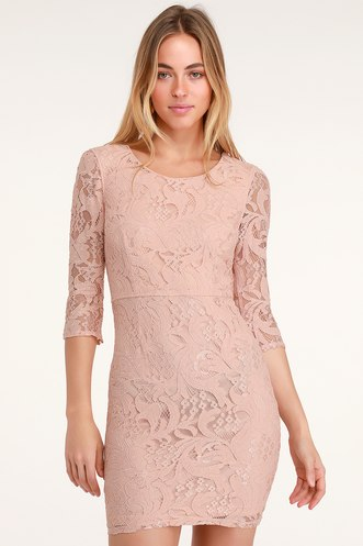 61adb2e9d8 All For You Blush Pink Lace Bodycon Dress