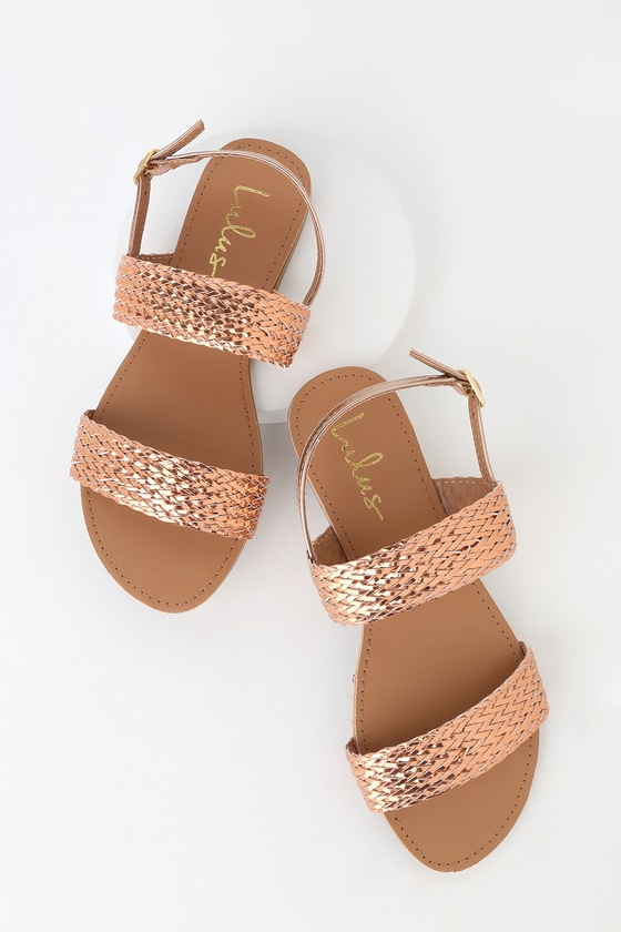 9b0cf88ac7757 Cute Flat Sandals - Metallic Rose Gold Sandals -Woven Sandal