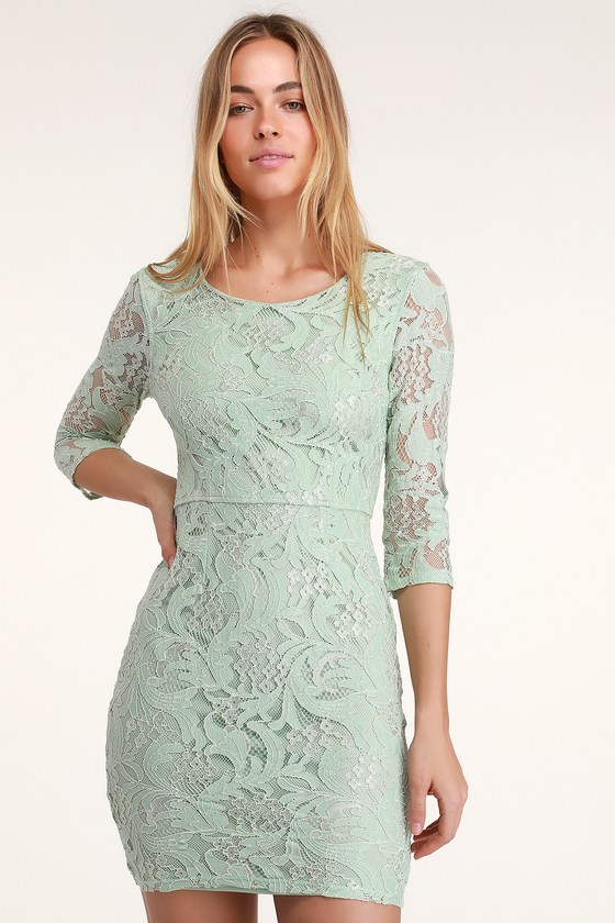 66ec2fe0a7f Sexy Mint Green Lace Dress - Lace Bodycon Dress - Mint Dress