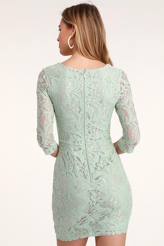 7391ee163ac2a Sexy Mint Green Lace Dress - Lace Bodycon Dress - Mint Dress