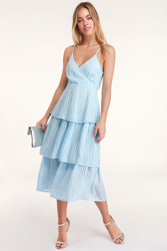 Blaine Light Blue Striped Tiered Midi Dress by Lulus