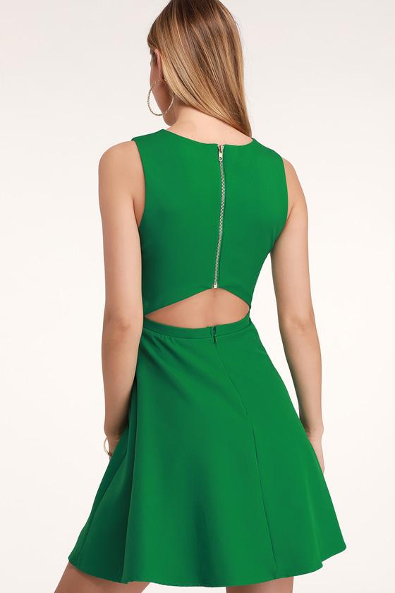daa53e307b Green Dress - Skater Dress - Cutout Dress - Sleeveless Dress