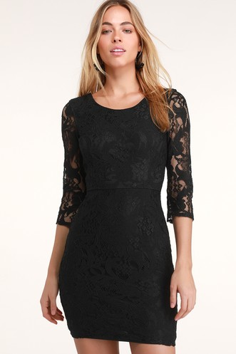 1406dcbb2d All For You Black Lace Bodycon Dress