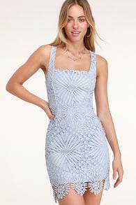 6616f41ebe3 Cute Light Blue Dress - Crochet Lace Dress - Ruffle Dress
