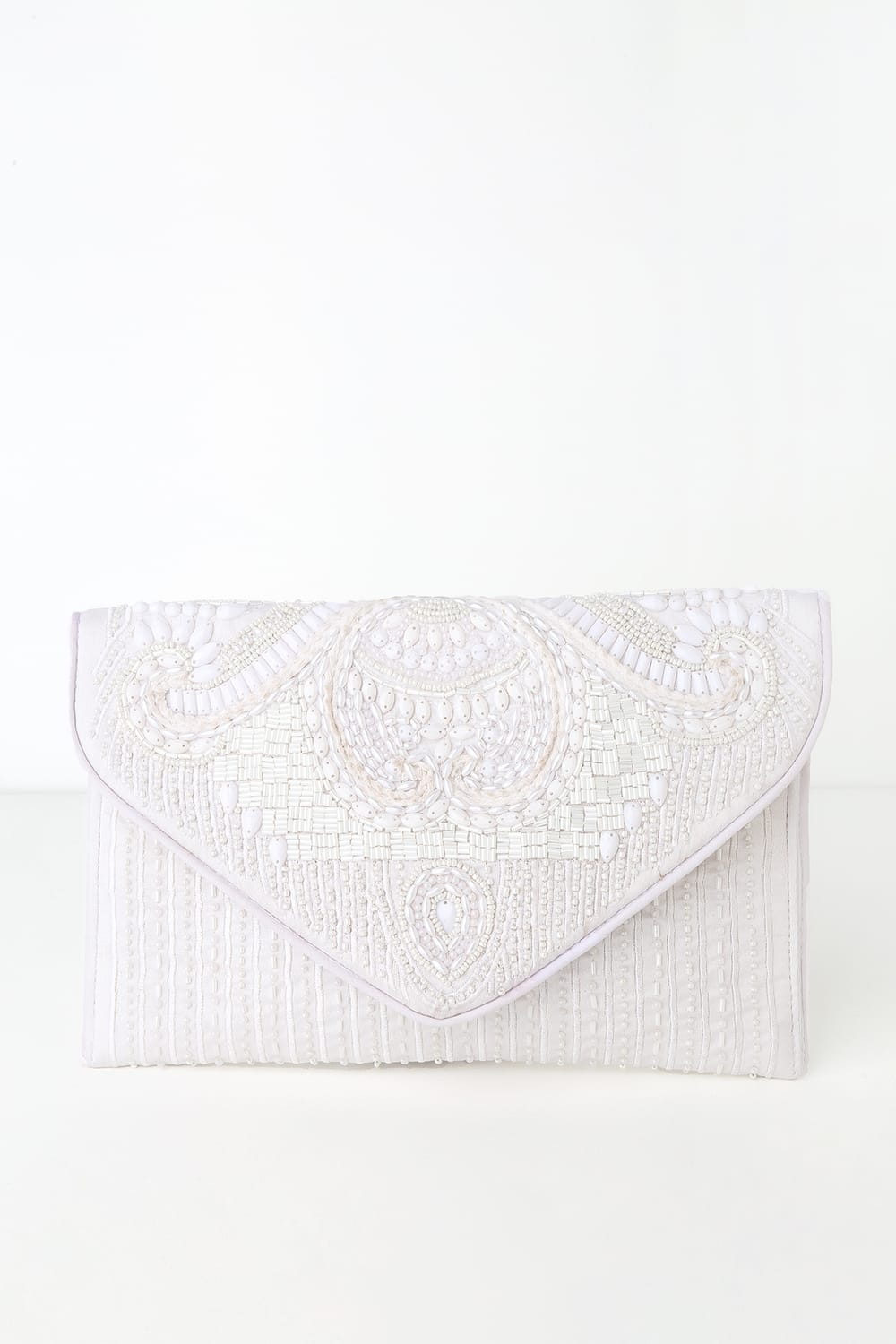 Constantinople White Beaded Clutch