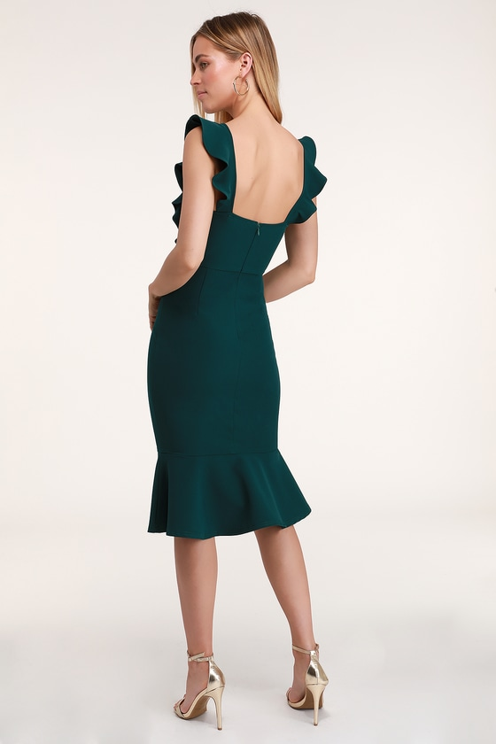 801b5be0e660a Sexy Dark Green Bodycon Dress - Ruffled Dress - Midi Dress