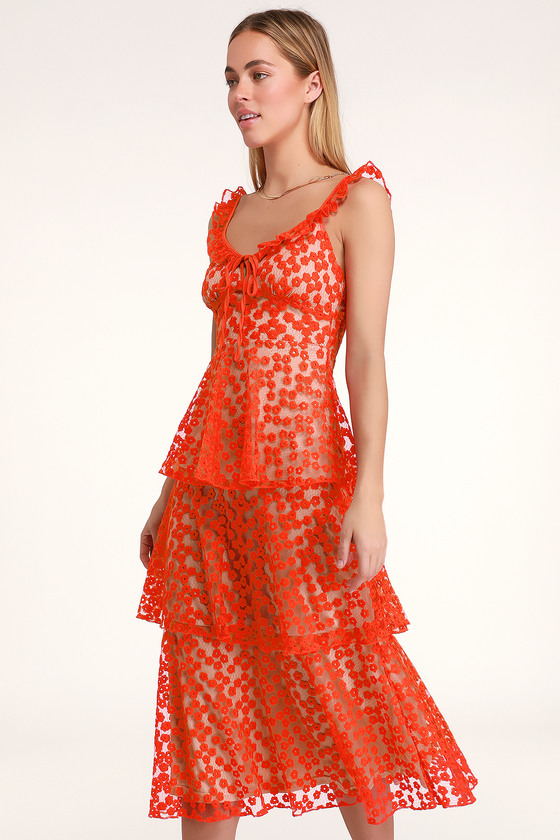 710f5eb2b6151 Lovely Coral Red Embroidered Dress - Midi Dress - Tiered Dress