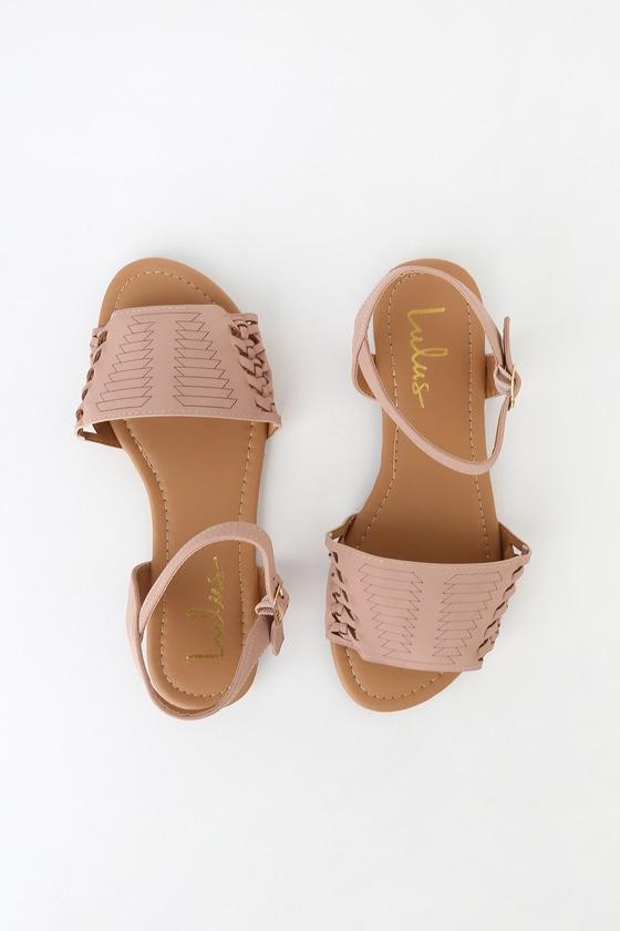 b62d08e3e5c8 Cute Blush Nubuck Flat Sandals - Huarache Ankle Strap Sandal