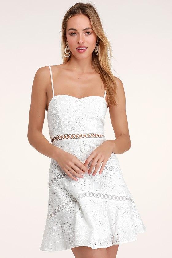 8d42aa1c309 Cute White Dress - White Eyelet Dress - Eyelet Skater Dress