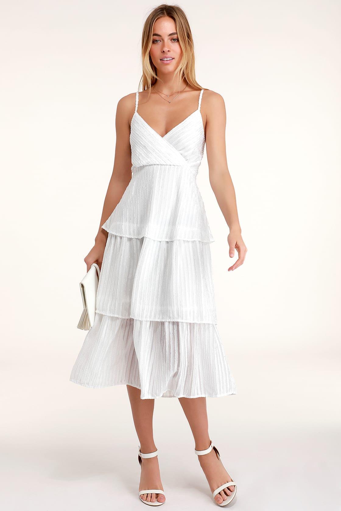 Blaine White Striped Tiered Midi Dress