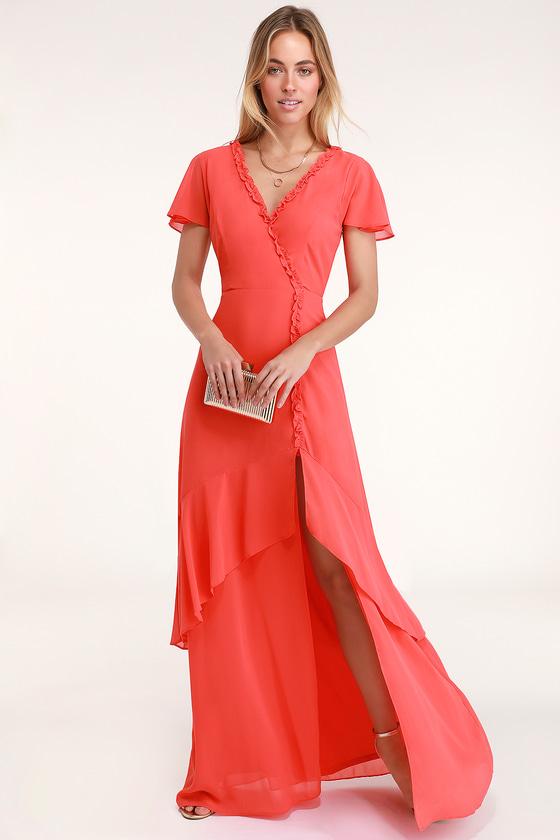 8783b27dcaee Glam Coral Red Dress - Maxi Dress - Ruffled Maxi Dress