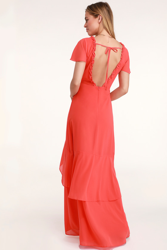 1d7a4e24b50 Pour the Champagne Coral Red Ruffled Backless Maxi Dress