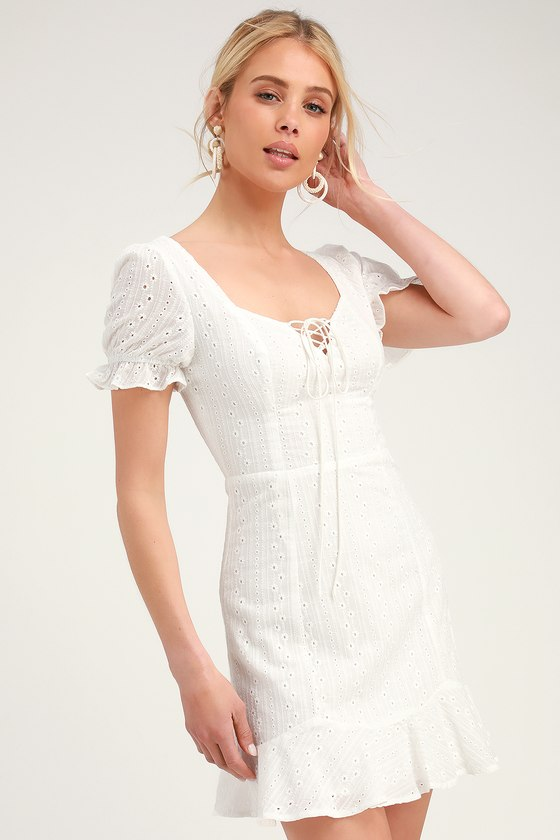 6552435bf3421 Cute Eyelet Lace Dress - Sweetheart Neck Mini Dress - White Dress