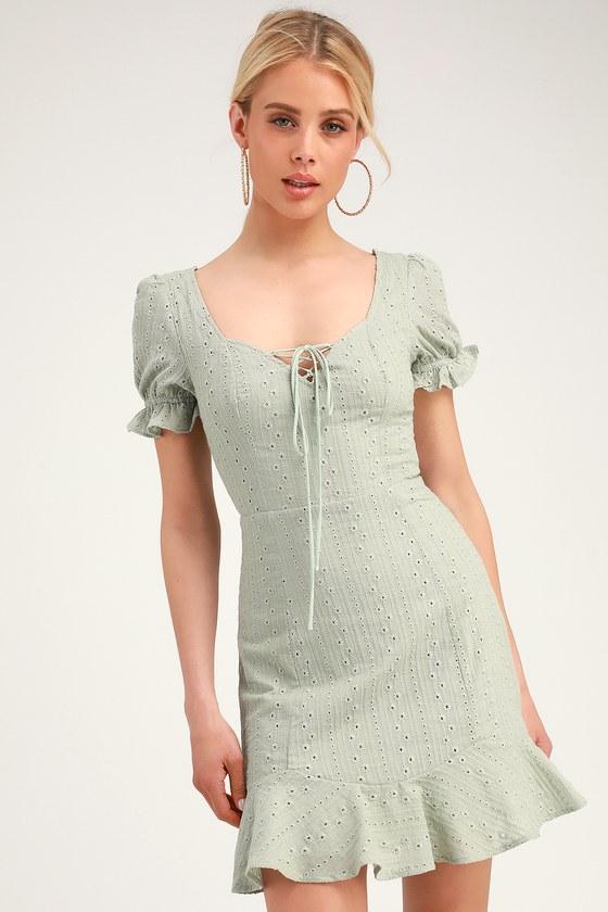 83867be3f57f Cute Eyelet Lace Dress - Sweetheart Neck Mini Dress - Green Dress