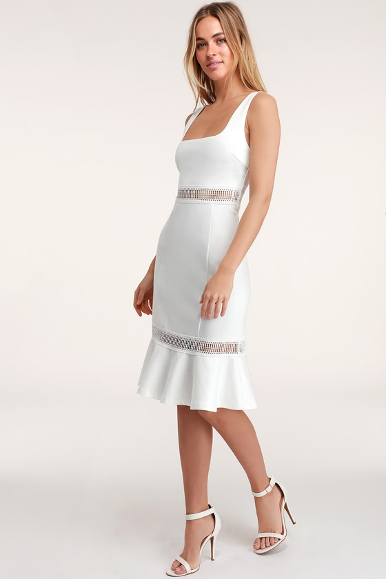 d6d01902d580a Cute White Dress - Fit-and-Flare Dress - White Crochet Trim Dress
