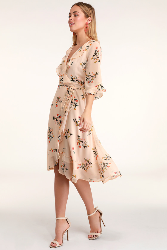 603a049ea2b Cute Blush Dress - Blush Floral Print Dress - Ruffled Midi Dress