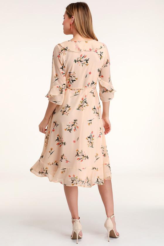 8d16df3f35 Cute Blush Dress - Blush Floral Print Dress - Ruffled Midi Dress