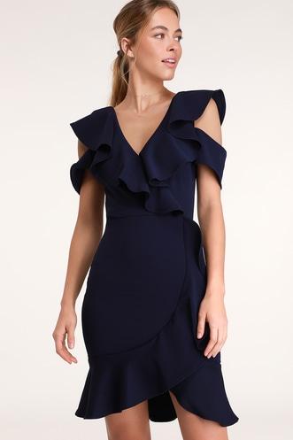 a02de392bf Elliana Navy Blue Ruffled Bodycon Dress