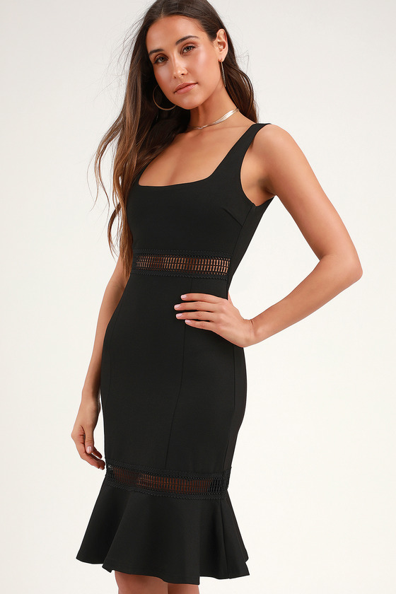Martini Mama Black Crochet Midi Dress