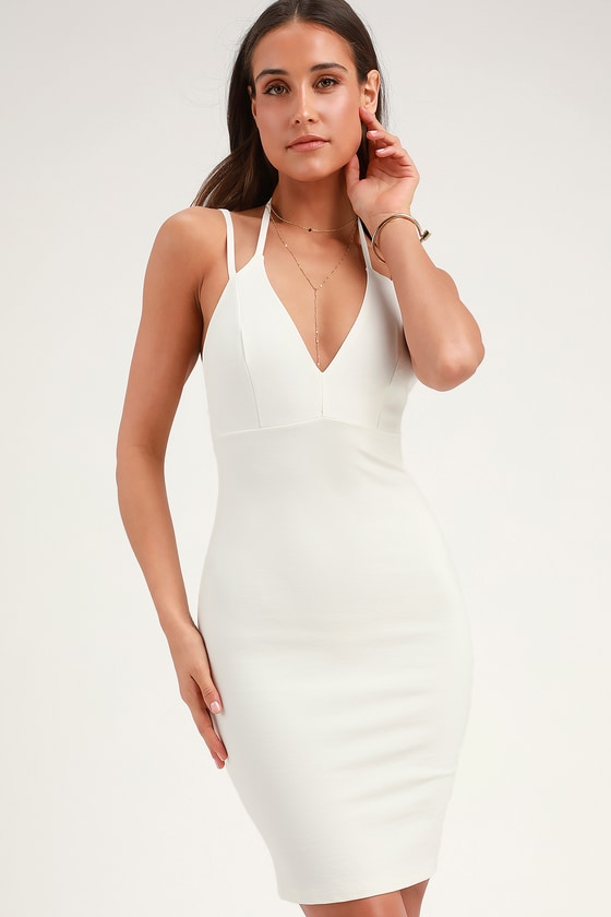 f2f02dd06b7 Sexy White Dress - Bodycon Dress - LWD - Midi Dress -  49.00