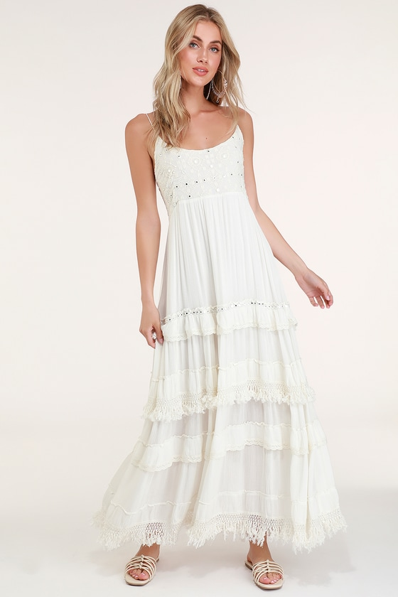 76e1fed85b Boho Off White Dress - Beaded Dress - Maxi Dress - Tiered Maxi