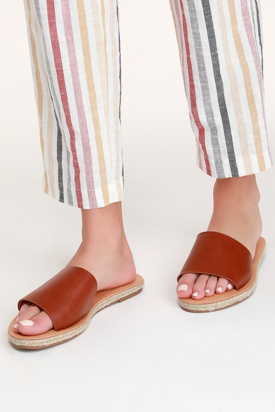 86661c03f8d4 Cute Brown Sandals - Slide Sandals - Espadrille Sandals