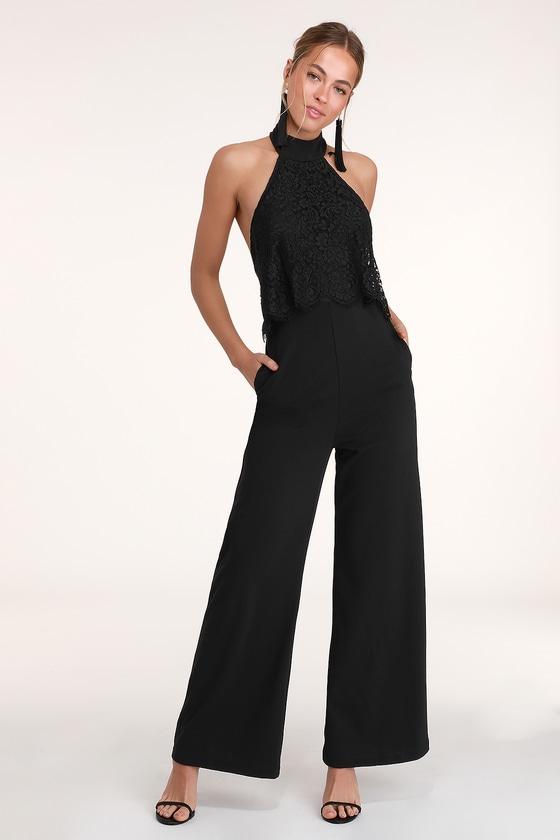 70s Jumpsuit | Disco Jumpsuits – Sequin, Striped, Gold, White, Black Bethanie Black Lace Halter Jumpsuit - Lulus $35.00 AT vintagedancer.com