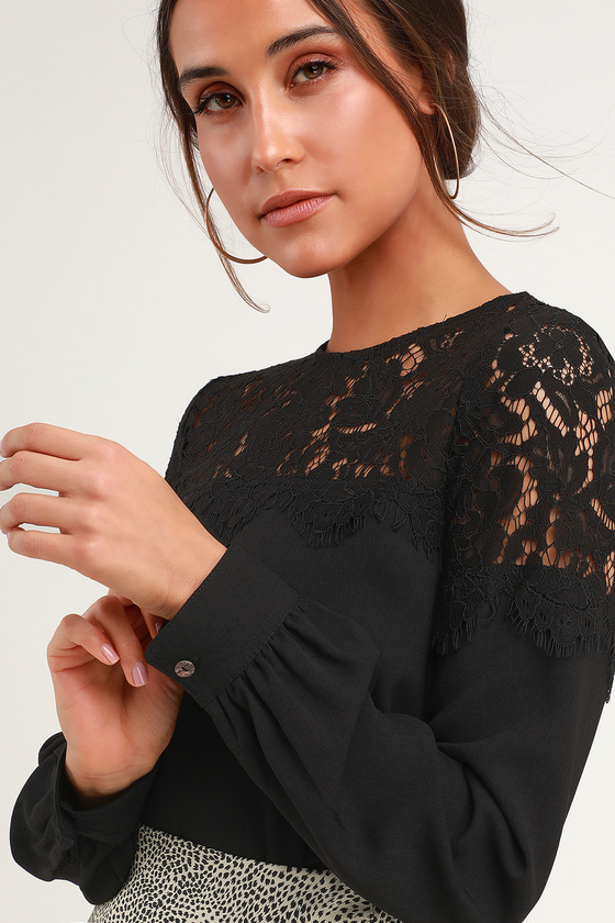 675f3fe39c Picture This Black Long Sleeve Lace Top