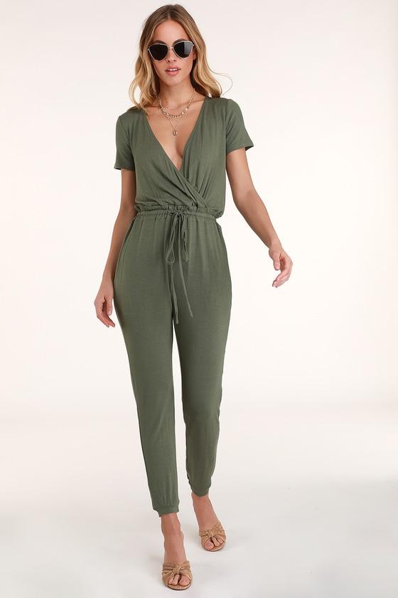 dc47dbfd2960 Cute Olive Green Jumpsuit - Surplice Jumpsuit - Tie Knot Jumpsuit