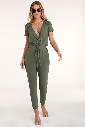 caf349c6f2 Sevannah Washed Olive Green Short Sleeve Jumpsuit