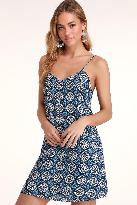 d2f19a56d8 Cute Blue and White Print Dress - Shift Dress - Casual Dress