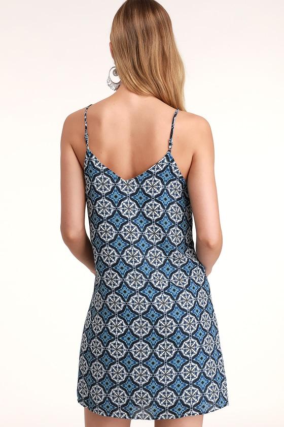 94ad1c4e9333 Cute Blue and White Print Dress - Shift Dress - Casual Dress