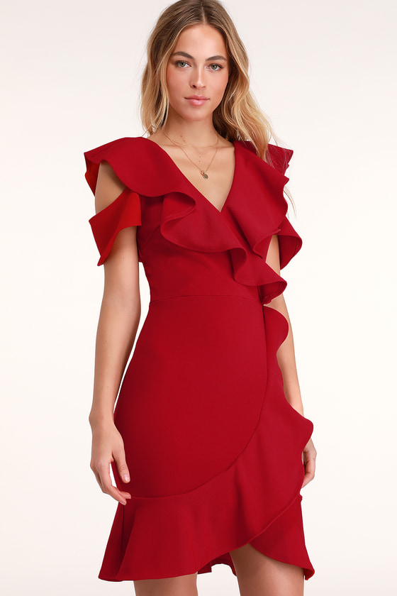 5d8b35195346 Lovely Red Dress - Bodycon Dress - Red Ruffled Dress