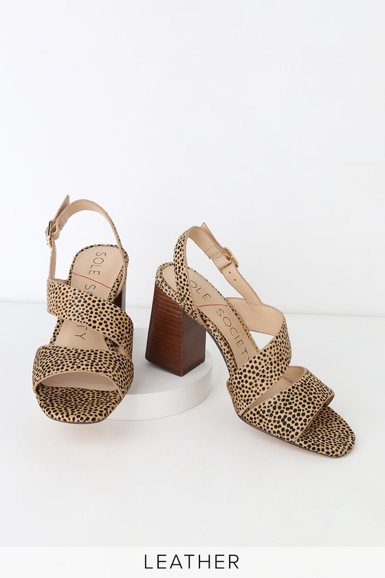 Jiya Black And Tan Dotted Calf Hair High Heel Sandals by Sole Society