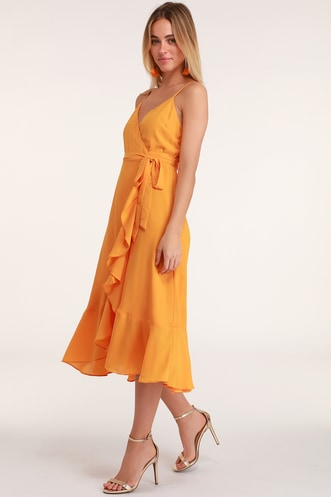 9eba4d4ede Manhattan Moment Bright Orange Ruffled Midi Wrap Dress