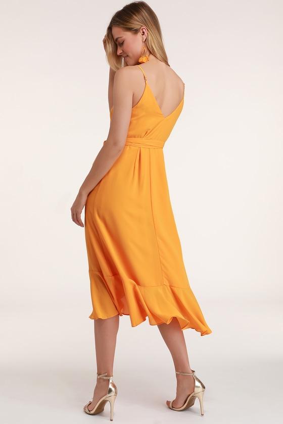 5f32bdea3df Cute Wrap Dress - Midi Dress - Orange Dress - Ruffled Dress