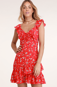 On the Patio Red Floral Print Ruffled Mini Dress