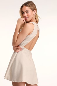 Winsome Nude Backless Skater Dress