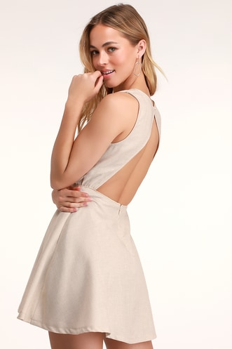 Winsome Nude Backless Skater Dress 4f4668725