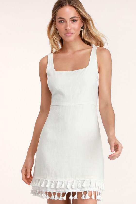 fa8703f373 Fun White Dress - Square Neck Dress - White Tassel Mini Dress